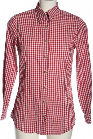 cortina Langarmhemd rot-weiß Allover-Druck Casual-Look