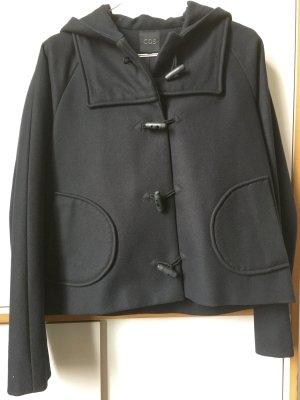 COS Veste à capuche bleu foncé laine