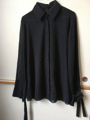 COS halbtransparente dunkelblaue Bluse