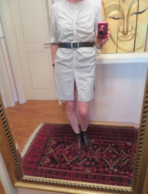 COS Hemd Kleid Button Down Eggshape Pastell Grau 36 38 Baumwolle Sommerkleid
