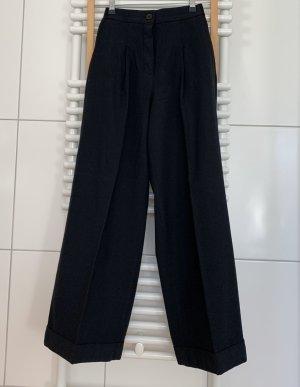 COS Pantalon taille haute bleu foncé laine