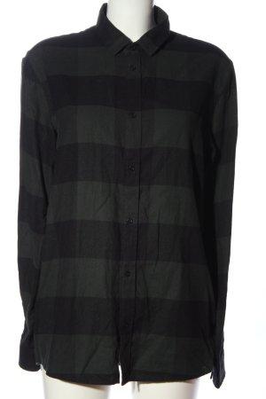 COS Houthakkershemd zwart-khaki gestreept patroon casual uitstraling