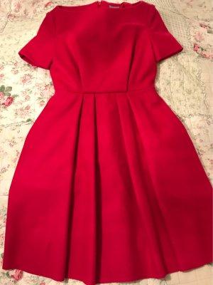 COS Robe à manches courtes rouge foncé laine
