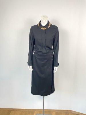 Cos Kleid Gr. 36 schwarz Blusenkleid Wollrock Midi Wickelrock Wolle Viskose Hemdbluse