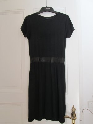 COS Kleid Kurzarm Jersey echtes Leder schwarz Gr. S 36
