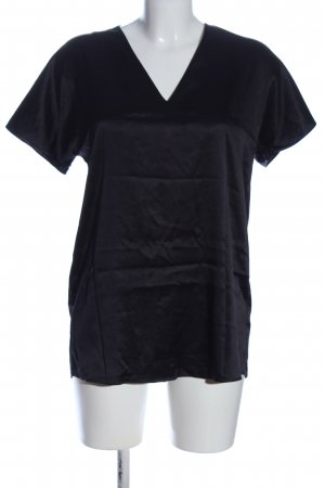 COS Kurzarm-Bluse schwarz Glanz-Optik