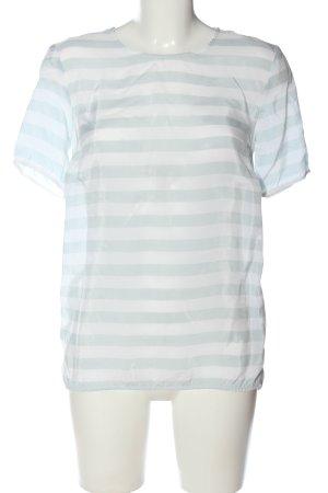 COS Kurzarm-Bluse weiß-hellgrau Streifenmuster Casual-Look
