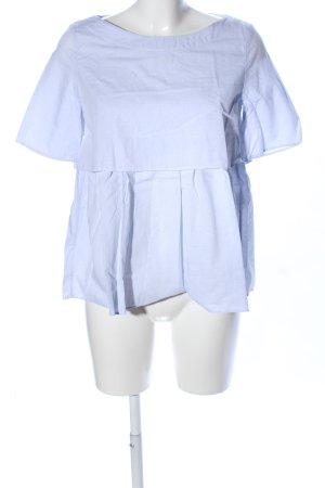 COS Kurzarm-Bluse blau Streifenmuster Business-Look