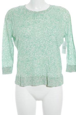 COS Kurzarmpullover wollweiß-grün abstraktes Muster Casual-Look