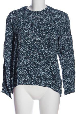 COS Langarm-Bluse blau-weiß Allover-Druck Casual-Look