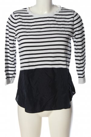 COS Feinstrickpullover weiß-schwarz Streifenmuster Casual-Look