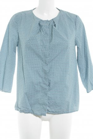 COS Langarmhemd petrol-wollweiß abstraktes Muster klassischer Stil