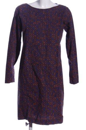 COS Robe à manches longues bleu-brun imprimé allover style décontracté