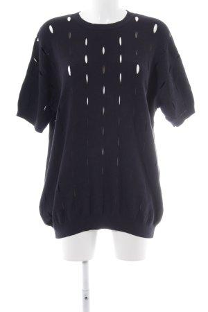 COS Pull long bleu foncé motif tricoté lâche style mode des rues
