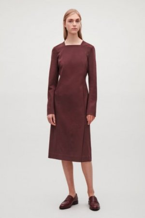 COS Midi-jurk bordeaux