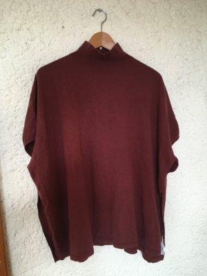 COS Sweter bez rękawów z cienkiej dzianiny brązowo-czerwony-bordo Wełna