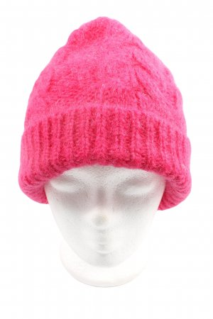 COS Bobble Hat pink cable stitch casual look