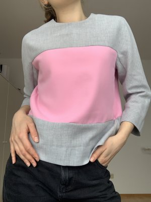 COS Pull à manches courtes gris clair-rose