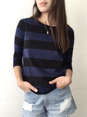 COS Gestreept shirt zwart-donkerblauw Katoen