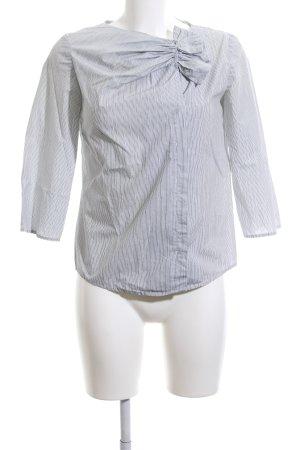 COS Ruche blouse lichtgrijs-zwart gestreept patroon zakelijke stijl