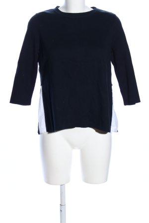 COS Rundhalspullover schwarz-weiß Streifenmuster Business-Look
