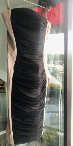 Cos schulterfreies Cocktailkleid Etudi bodycon chiffon mesh beide nude schwarz 34 xs bandeau
