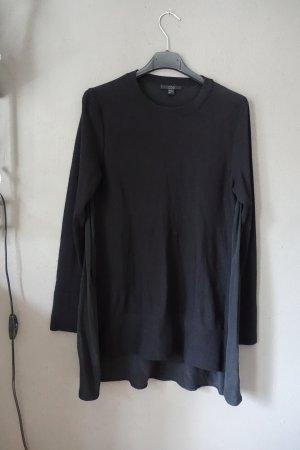 COS Shirt, Oberteil, schwarz, Materialmix, Longsleeve, Bluse mit Seide