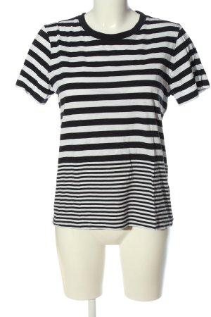 COS T-Shirt schwarz-weiß Streifenmuster Casual-Look