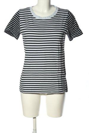COS T-Shirt türkis-schwarz Streifenmuster Casual-Look