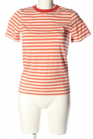 COS T-Shirt hellorange-wollweiß Streifenmuster Casual-Look