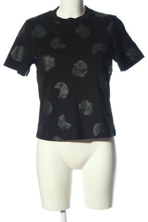 COS T-Shirt schwarz-hellgrau abstraktes Muster Casual-Look