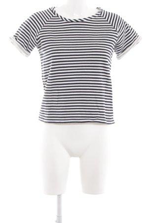 COS T-Shirt weiß-dunkelblau Streifenmuster sportlicher Stil