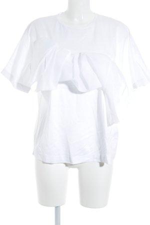 COS T-Shirt weiß Materialmix-Look