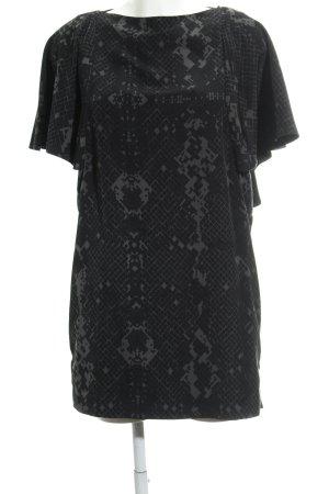 COS Volantkleid schwarz-grüngrau grafisches Muster