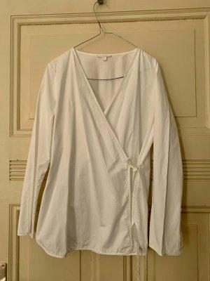 COS Blusa cruzada blanco Algodón