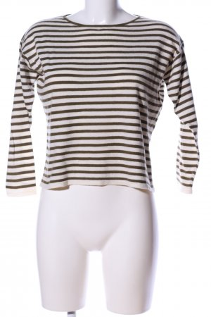 COS Wool Sweater natural white-brown striped pattern casual look