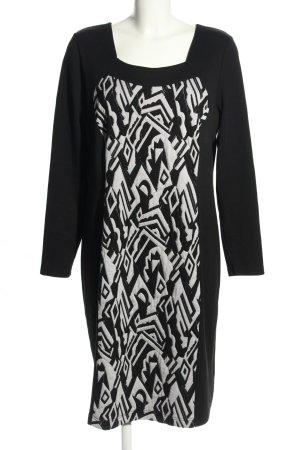 Cosima Langarmkleid schwarz-weiß abstraktes Muster Casual-Look