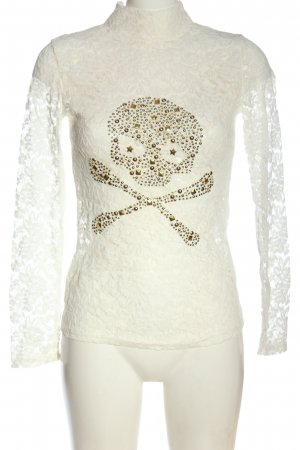 Cosmoda Lace Blouse white-bronze-colored themed print elegant