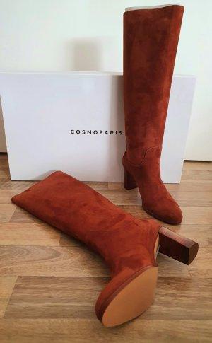 """Cosmoparis Stiefel """"Savanna"""" Veloursleder cognacfarben NEU Gr. 38"""