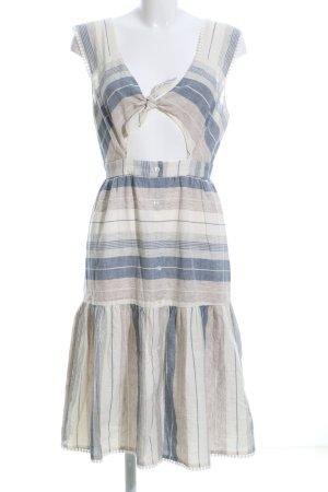 Midikleid wollweiß-blau Streifenmuster Casual-Look
