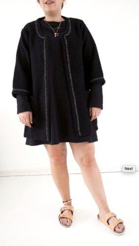 Costas Long Blazer Jacke schwarz 40 42 44 XXL Strickjacke Boucle Chanel Style Blogger Fashion