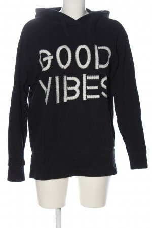 Costes Hooded Sweatshirt black-white themed print casual look