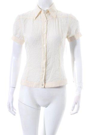 Costume national Kurzarm-Bluse creme Streifenmuster Transparenz-Optik