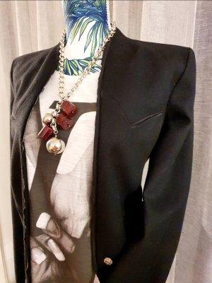 Costume National Long-Blazer schwarz-goldfarben Casual-Look