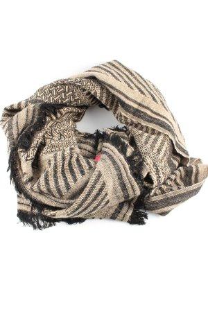 Wollschal creme-schwarz grafisches Muster Casual-Look