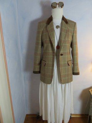 Cosy weicher 100% Wolle/Cashmere Blazer - Kariert - Braun Beige Burgund Jacke - Samtdetails - Long Blazer