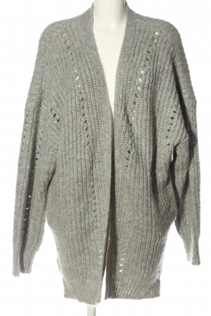 Cotton Candy Cardigan light grey cable stitch casual look