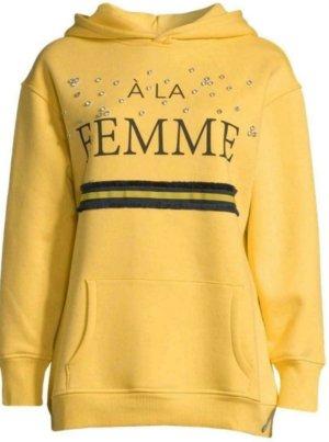 COTTON CANDY - legerer Sweater Sweatshirt mit Strasssteine gelb NEU Gr L