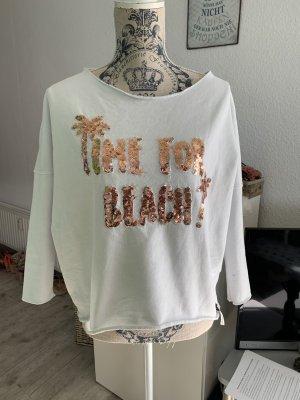 Cotton Candy Pulli/Sweater - White/Bronze - Pailletten - Größe XS 32/34