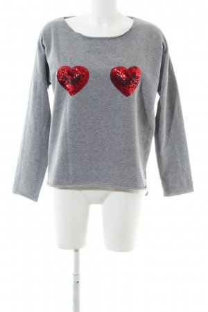 Cotton Candy Sweatshirt hellgrau-rot meliert Casual-Look